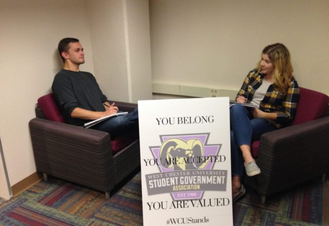 Student Government President and Secretary discussing their plans moving forward to stand against hate at West Chester University